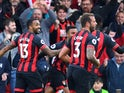 Bournemouth striker Callum Wilson celebrates with teammates during his side's Premier League clash with Manchester United on November 3, 2018