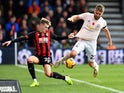 David Brooks and Luke Shaw in action during the Premier League game between Bournemouth and Manchester United on November 3, 2018