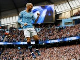 David Silva celebrates scoring Manchester City's third goal against Southampton on November 4, 2018