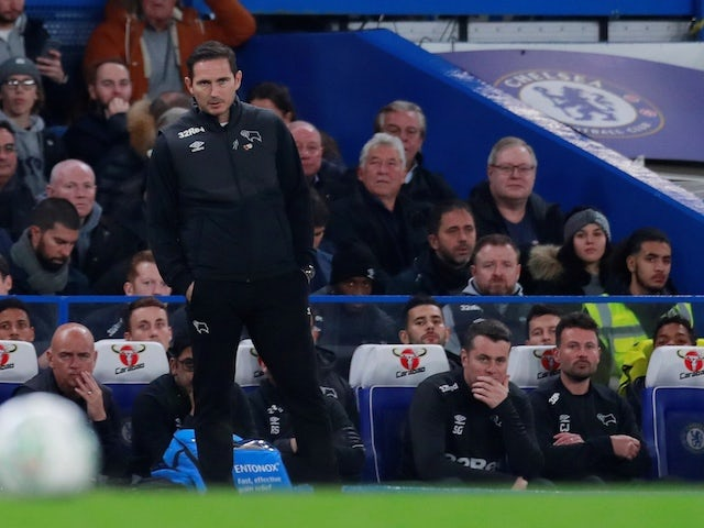 Derby County manager Frank Lampard watches on against his former club Chelsea on October 31, 2018