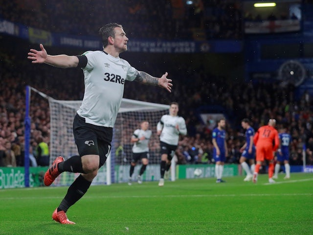 Derby County striker Jack Marriott celebrates after scoring against Chelsea in the EFL Cup on October 31, 2018