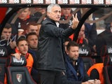 Jose Mourinho gestures during the Premier League game between Bournemouth and Manchester United on November 3, 2018
