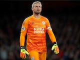 Kasper Schmeichel in action for Leicester City on October 22, 2018