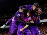 James Milner celebrates scoring for Liverpool against Arsenal on November 3, 2018