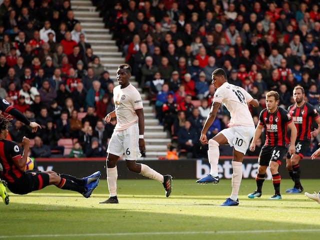 Marcus Rashford has a shot during the Premier League game between Bournemouth and Manchester United on November 3, 2018