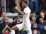 Marcus Rashford celebrates his late winner during the Premier League game between Bournemouth and Manchester United on November 3, 2018