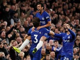 Pedro mounts Marcos Alonso after scoring during the Premier League game between Chelsea and Crystal Palace on November 4, 2018