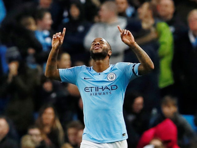 Manchester City attacker Raheem Sterling celebrates his second goal against Southampton on November 4, 2018