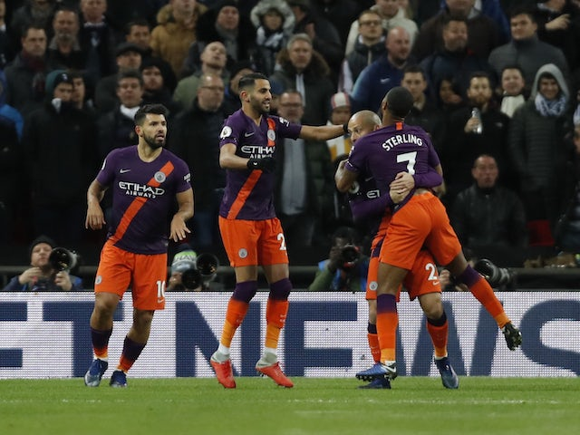 Riyad Mahrez celebrates scoring during the Premier League game between Tottenham Hotspur and Manchester City on October 29, 2018