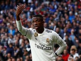 Vinicius Junior celebrates the own goal during the La Liga game between Real Madrid and Real Valladolid on November 3, 2018