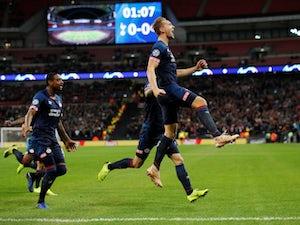 PSV Eindhoven striker Luuk de Jong celebrates after opening the scoring against Tottenham Hotspur on November 6, 2018