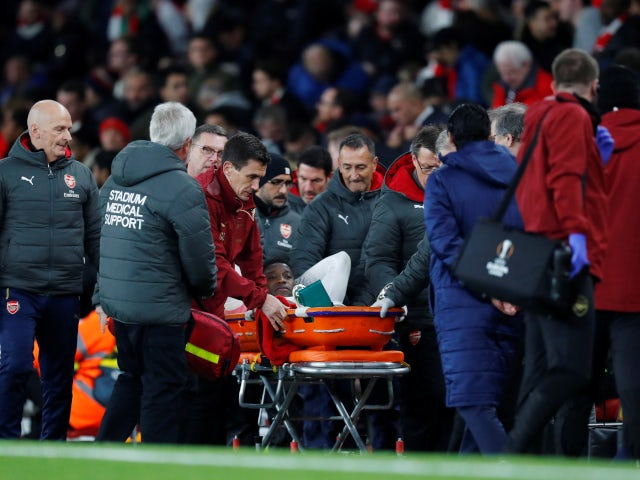Danny Welbeck is stretchered off the field during Arsenal's Europa League tie with Sporting Lisbon on November 8, 2018