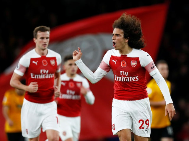 Matteo Guendouzi reacts to Henrik Mkhitaryan's late leveller for Arsenal in their Premier League draw with Wolverhampton Wanderers on November 11, 2018