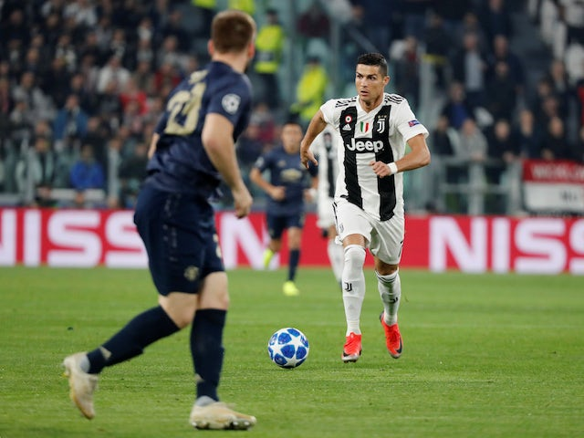 Cristiano Ronaldo in action during the Champions League group game between Juventus and Manchester United on November 7, 2018