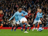 Gabriel Jesus scores from the spot during the Champions League group game between Manchester City and Shakhtar Donetsk on November 7, 2018