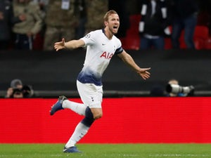 Harry Kane celebrates after scoring his second goal of the night in Tottenham Hotspur's win against PSV Eindhoven on November 6, 2018