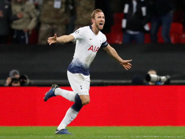 7e2511beead Harry Kane celebrates after scoring his second goal of the night in  Tottenham Hotspur's win against