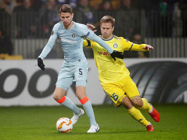Jorginho and Maksim Skavysh in action during the Europa League group game between BATE Borisov and Chelsea on November 8, 2018