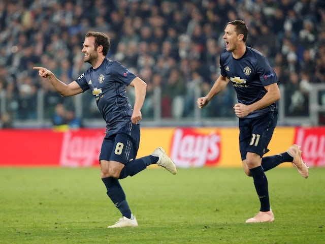 Juan Mata celebrates scoring for Manchester United against Juventus on November 7, 2018