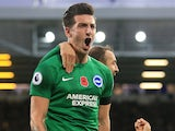 Lewis Dunk celebrates scoring for Brighton & Hove Albion on November 3, 2018