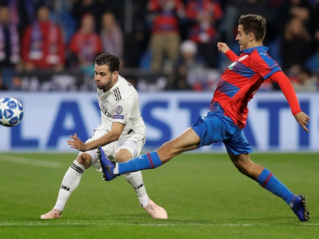 Nacho and Ales Cermak in action during the Champions League group game between Viktoria Plzen and Real Madrid on November 7, 2018