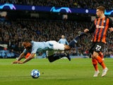 Raheem Sterling goes down during the Champions League group game between Manchester City and Shakhtar Donetsk on November 7, 2018