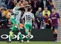 Real Betis attacker Joaquin celebrates scoring against Barcelona