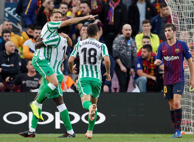 Real Betis attacker Joaquin celebrates scoring against Barcelona
