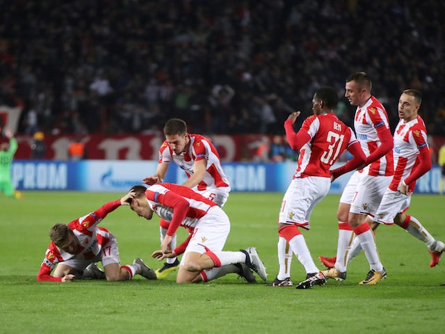 Red Star Belgrade players celebrate Milan Pavkov's goal against Liverpool on November 6, 2018