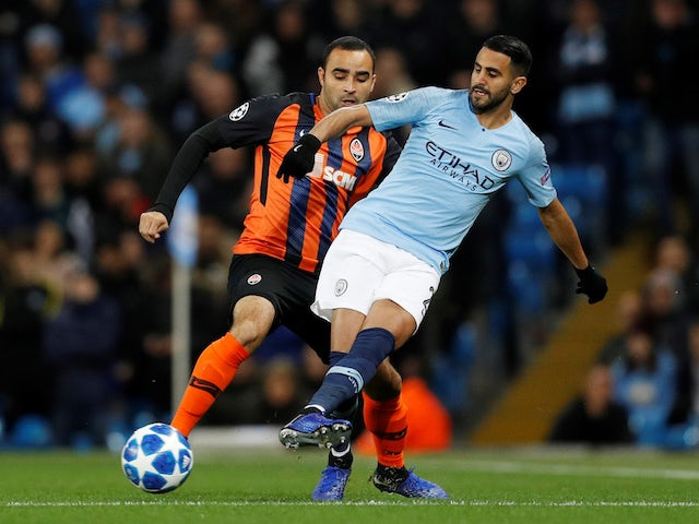 Riyad Mahrez and Ismaily in action during the Champions League group game between Manchester City and Shakhtar Donetsk on November 7, 2018