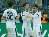 Thorgan Hazard celebrates scoring Borussia Monchengladbach on November 4, 2018