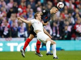 Harry Kane and Dejan Lovren in action during the Nations League group game between England and Croatia on November 18, 2018