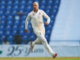 Jack Leach in action for England on November 14, 2018