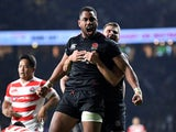 Joe Cokanasiga celebrates scoring for England against Japan on November 17, 2018