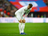 John Stones adopts the pose during the Nations League group game between England and Croatia on November 18, 2018