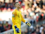 Jordan Pickford in action during the Nations League group game between England and Croatia on November 18, 2018