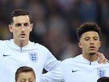 Lewis Dunk and Jadon Sancho line up for England on November 15, 2018
