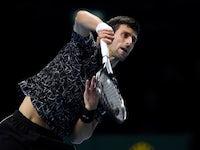 Novak Djokovic in action at the ATP Finals on November 14, 2018