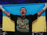 Oleksandr Usyk celebrates his victory on November 10, 2018