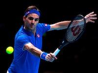 Roger Federer in action at the ATP Finals on November 13, 2018