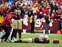 Washington Redskins' Alex Smith breaks his leg on November 18, 2018
