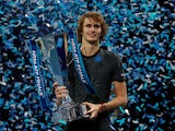 Alexander Zverev celebrates winning the ATP Finals on November 18, 2018