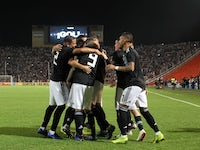 Argentina players celebrate after scoring against Mexico in a friendly on November 21, 2018