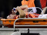 Wales' Ellis Jenkins receives oxygen as he leaves the pitch on a stretcher after sustaining an injury on November 24, 2018