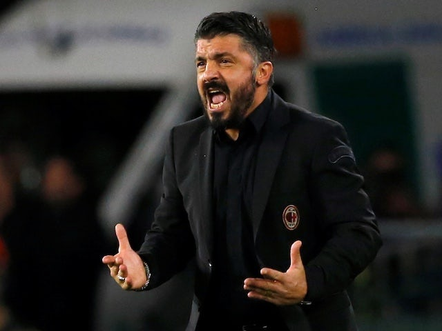 AC Milan manager Gennaro Gattuso watches on during his side's Europa League clash with Real Betis on November 8, 2018