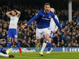 Everton midfielder Gylfi Sigurdsson celebrates scoring the only goal of the game against Cardiff City on November 24, 2018