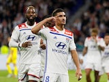 Lyon midfielder Houssem Aouar celebrates scoring in October 2018