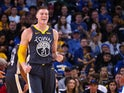 Golden State Warriors forward Jonas Jerebko reacts after drawing a foul against the Portland Trail Blazers during the third quarter at Oracle Arena.