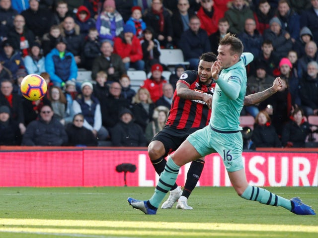 Josh King scores for Bournemouth against Arsenal in their Premier League clash on November 25, 2018.