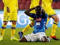 Napoli's Kalidou Koulibaly reacts after a missed chance against Chievo Verona on November 25, 2018